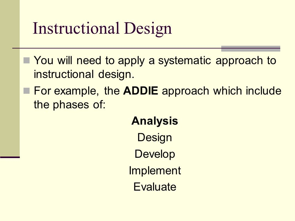 Theories guiding e learning ppt video online download for Instructional design analysis template