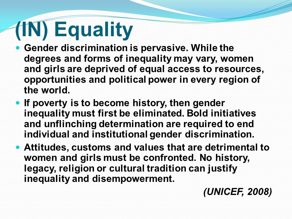gender discrimination and women's development in Gender is a common term where as gender discrimination is meant only for women, because females are the only victims of gender discrimination females are nearly 50.