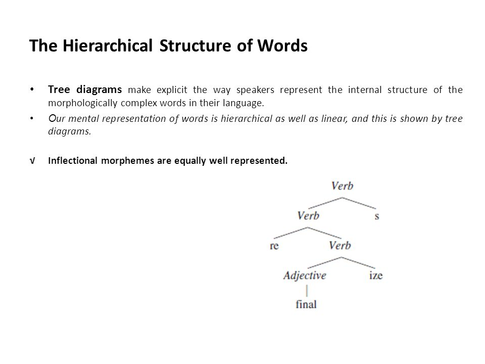 Morphology morph ology morph form ology science of 24 the hierarchical structure of words tree diagrams ccuart Image collections