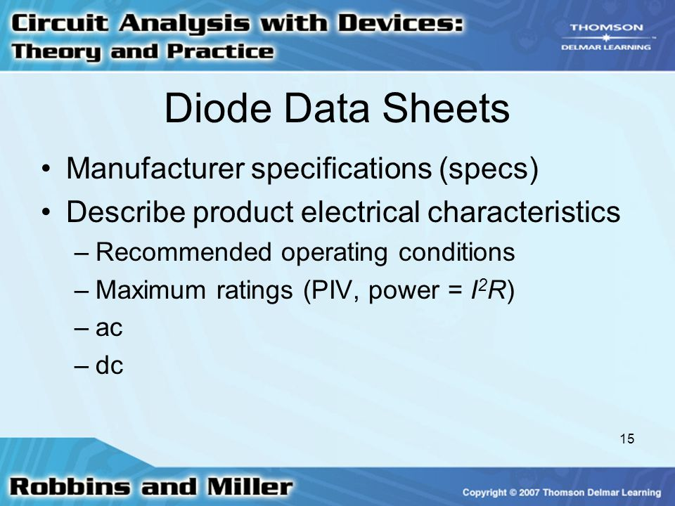 Diode Data Sheets Manufacturer specifications (specs)