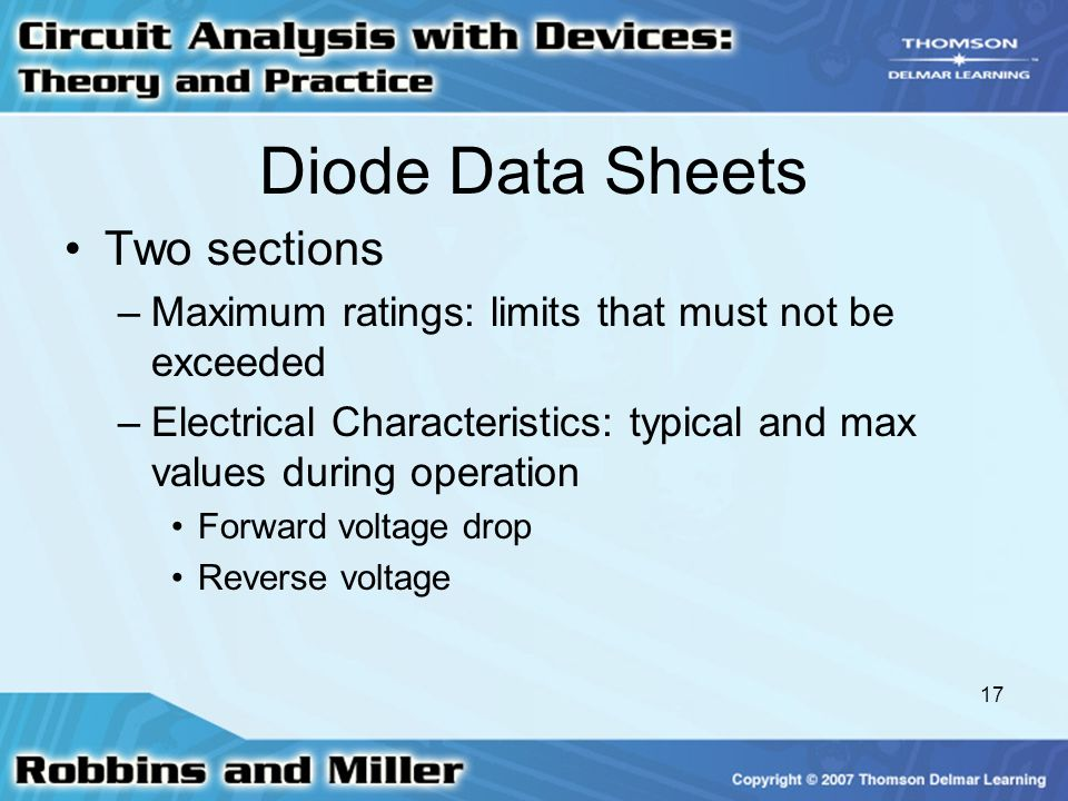 Diode Data Sheets Two sections