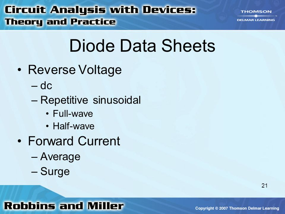 Diode Data Sheets Reverse Voltage Forward Current dc