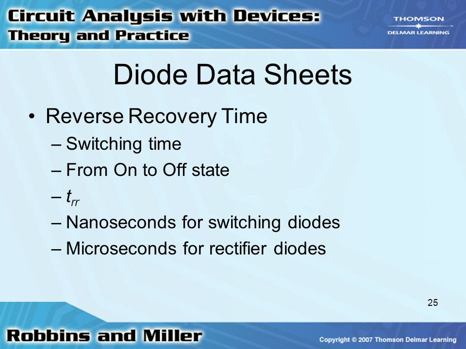 Diode Data Sheets Reverse Recovery Time Switching time