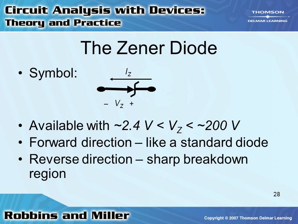 The Zener Diode Symbol: Available with ~2.4 V < VZ < ~200 V