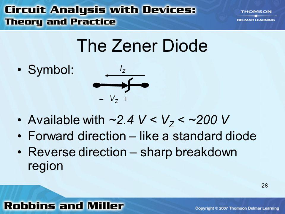 The Zener Diode Symbol: Available with ~2.4 V < VZ < ~200 V