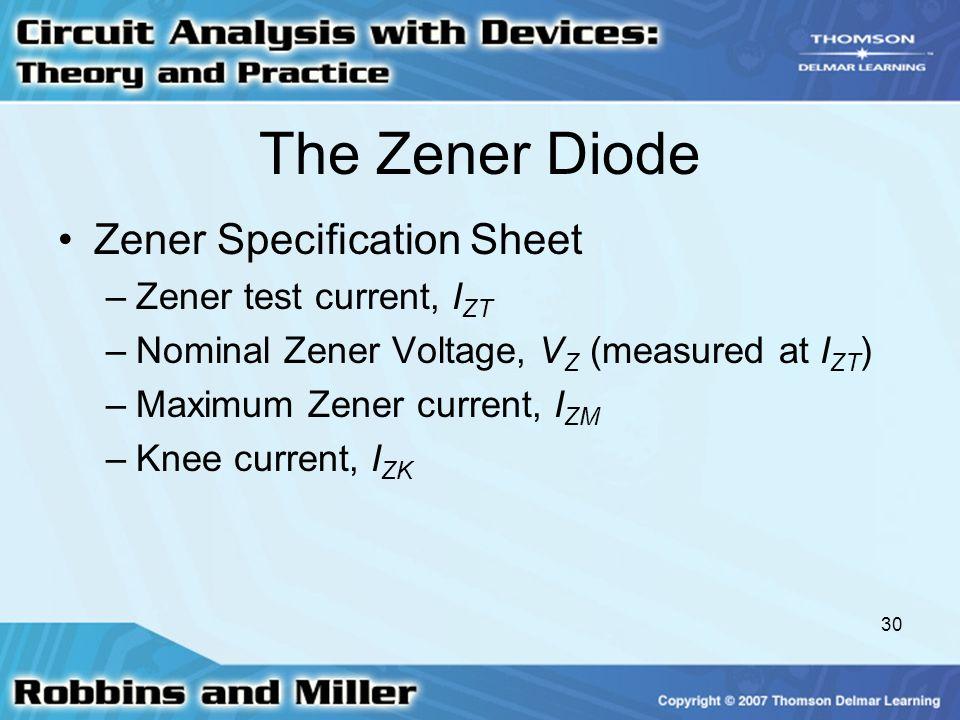 The Zener Diode Zener Specification Sheet Zener test current, IZT