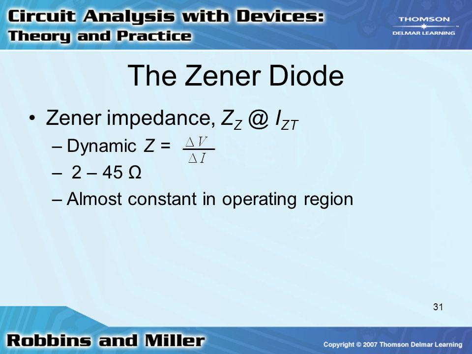 The Zener Diode Zener impedance, ZZ @ IZT Dynamic Z = 2 – 45 Ω