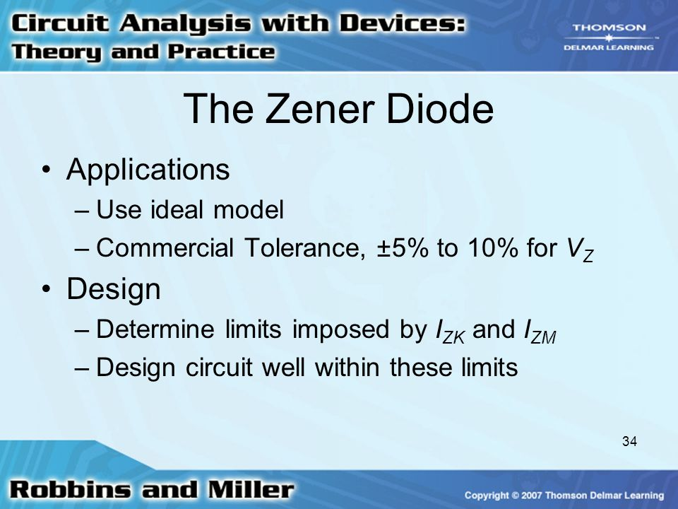 The Zener Diode Applications Design Use ideal model