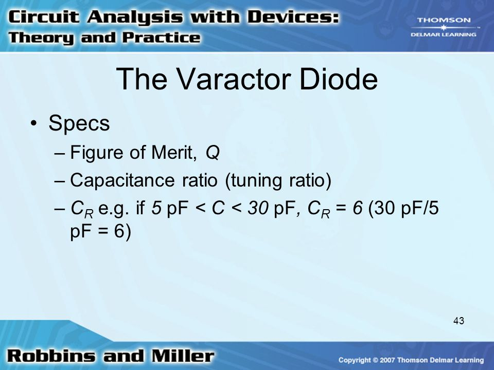 The Varactor Diode Specs Figure of Merit, Q