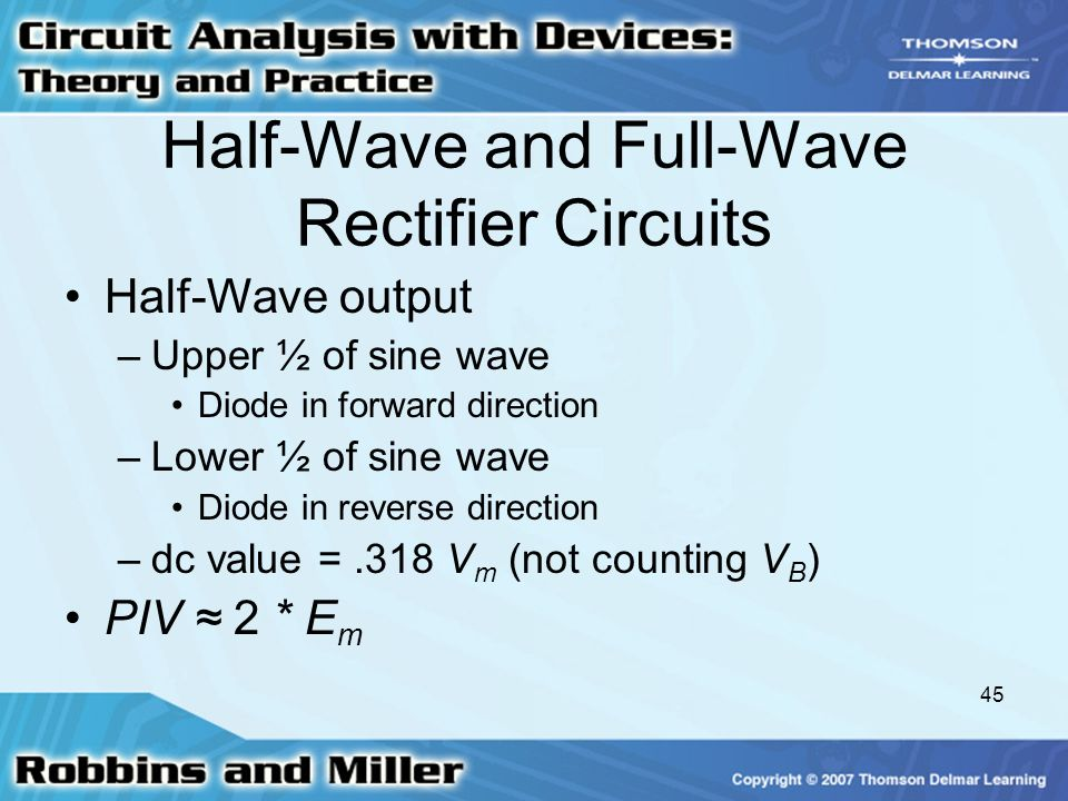 Half-Wave and Full-Wave Rectifier Circuits