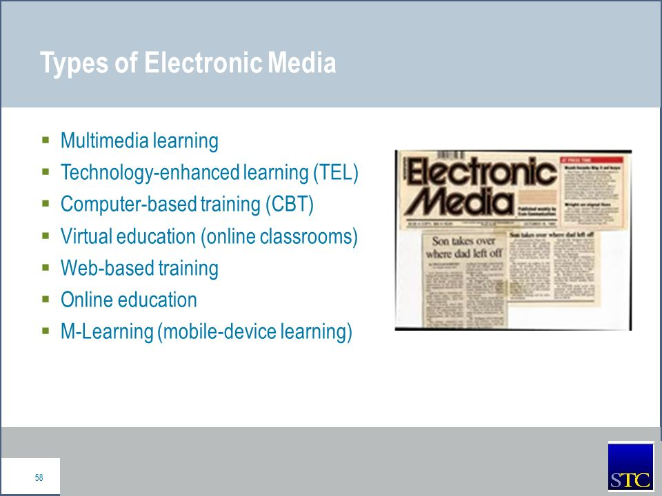 education in electronic media Is electronic media beneficial in children's education over the last decades, it is generally realized that the educational technology has developed dramatically electronic media has benefitted the system of education in an enormous way electronic media is the media which uses electronics or .
