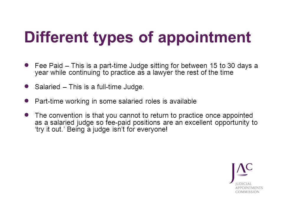 Different types of appointment