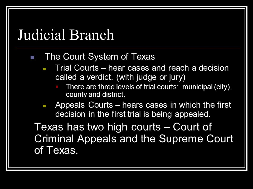 texas judicial system 2 introduction to the texas judicial system the texas constitution the basic law of the state of texas is set out in the constitution of the state of texas, a document adopted by the voters of the state in 1876.