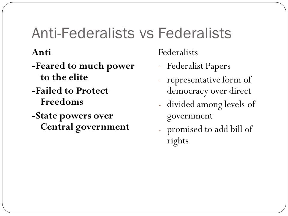 Anti-Federalists vs Federalists