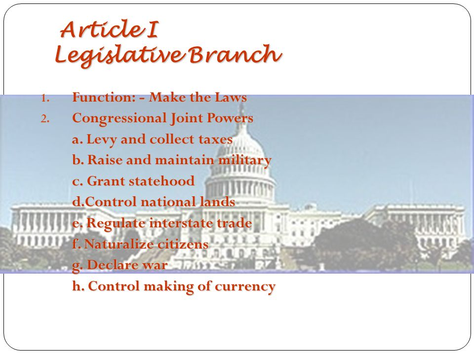 Article I Legislative Branch