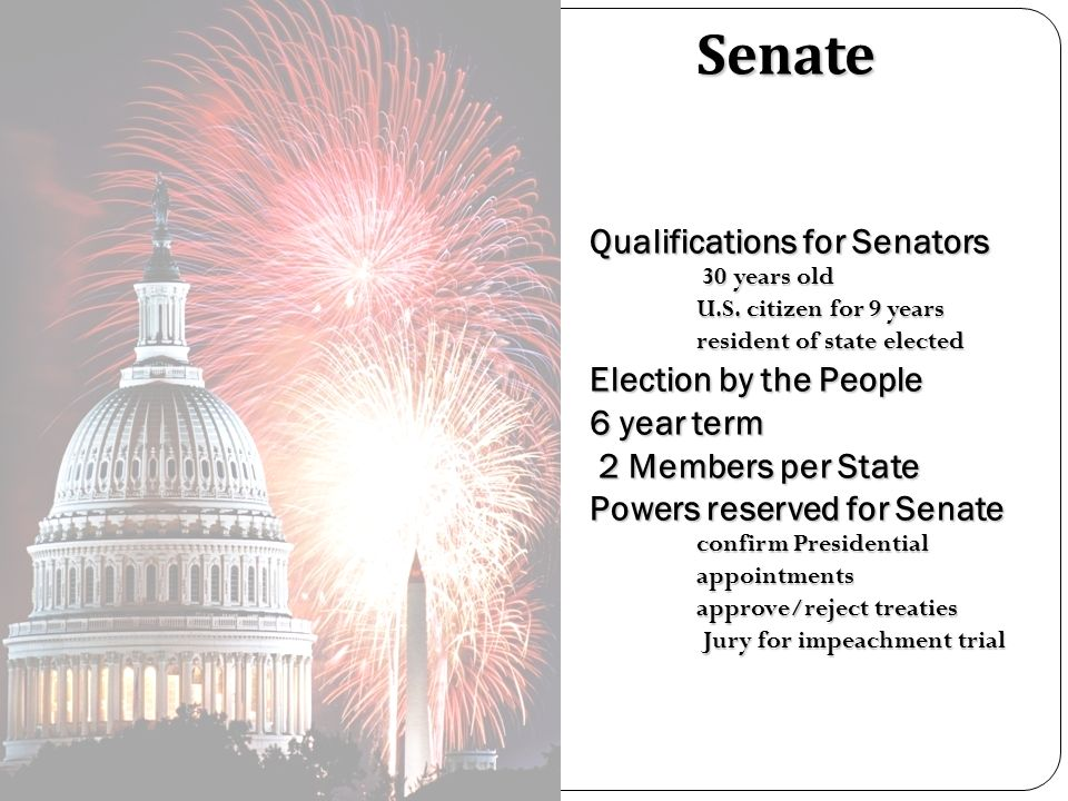 Senate 6 year term 2 Members per State Qualifications for Senators