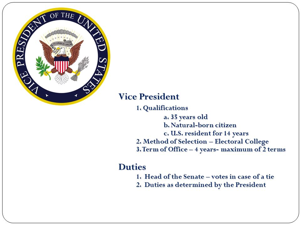 Vice President 1. Qualifications Duties a. 35 years old