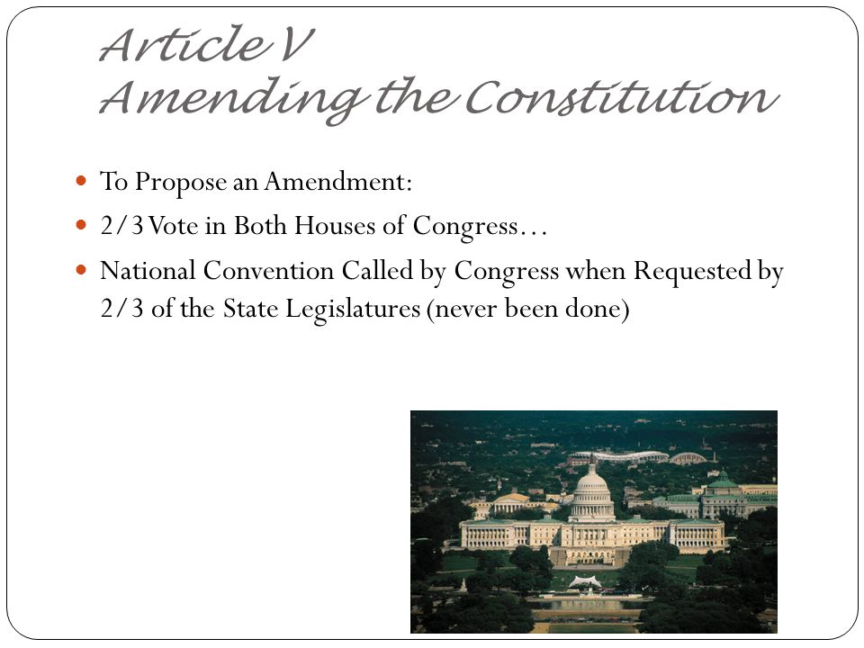 Article V Amending the Constitution