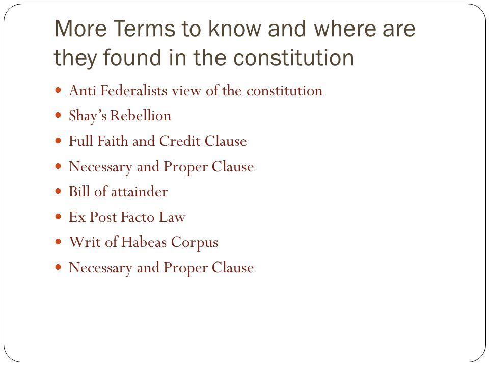 More Terms to know and where are they found in the constitution