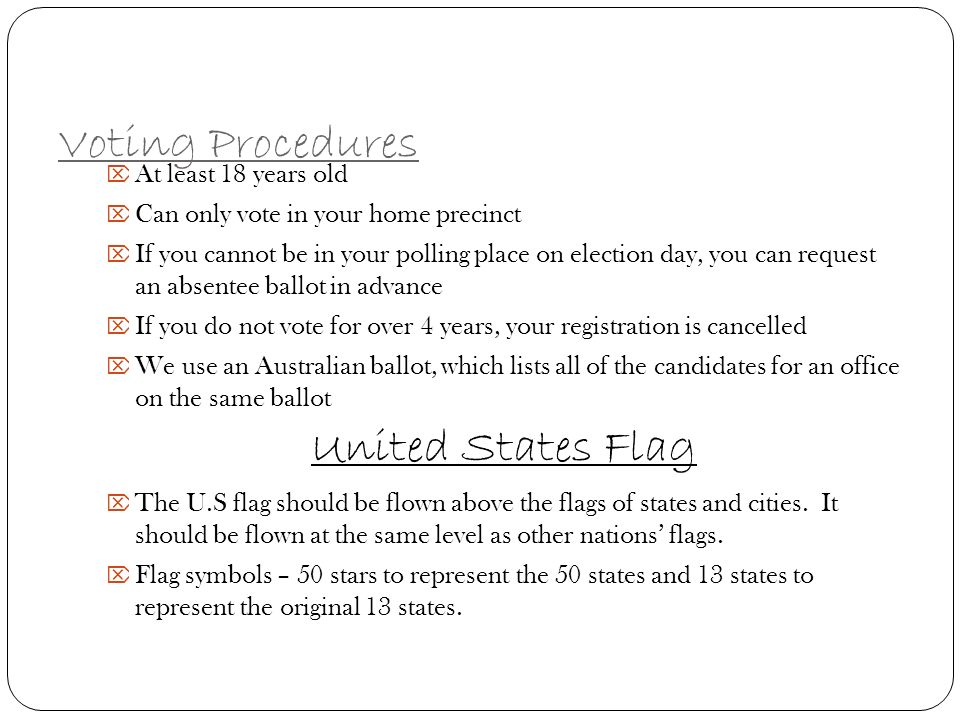 Voting Procedures United States Flag At least 18 years old
