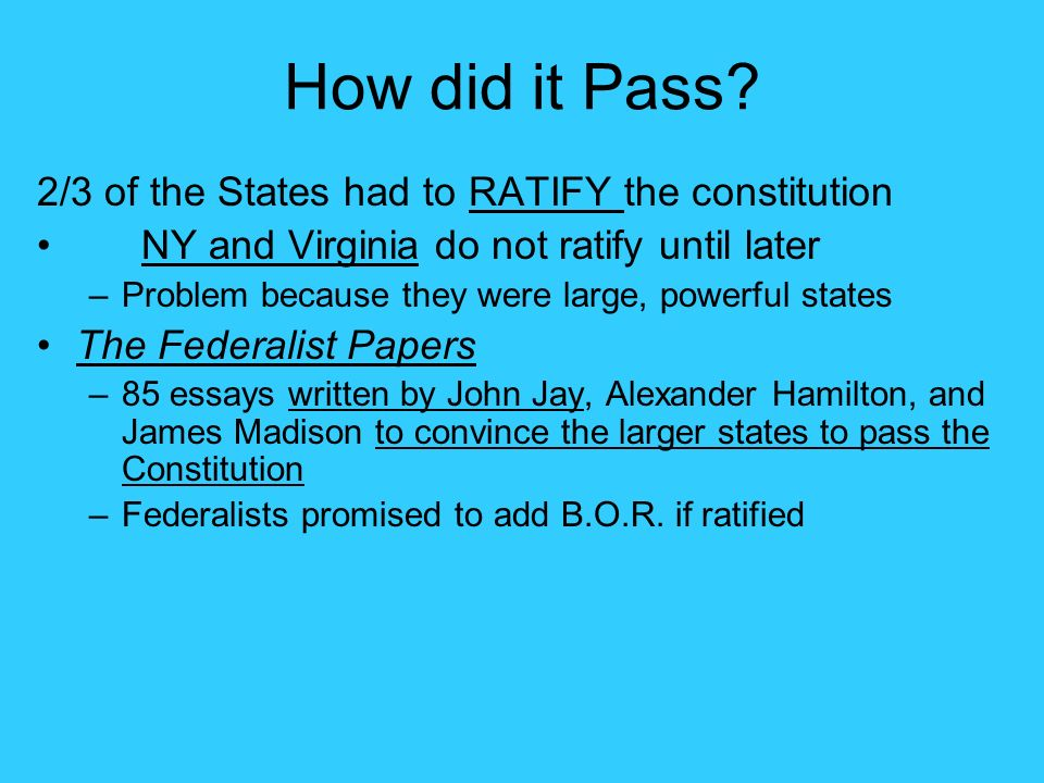 these were essays written to urge ratification of the consitiution The federalist, commonly referred to as the federalist papers, is a series of 85 essays written by alexander hamilton, john jay, and james madison between october 1787 and may 1788.