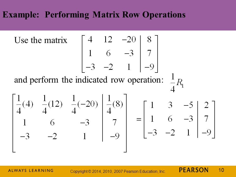 Example: Performing Matrix Row Operations