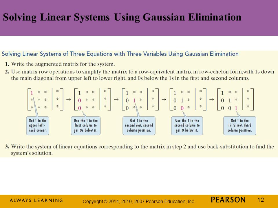 Solving Linear Systems Using Gaussian Elimination