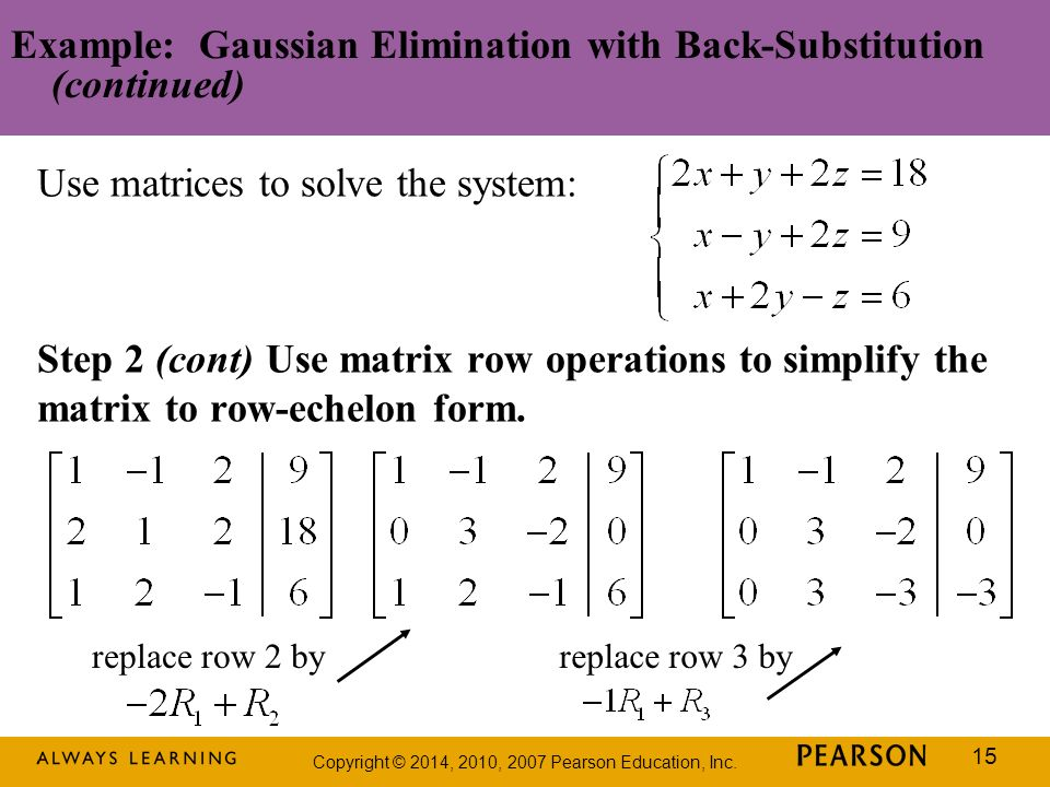 Example: Gaussian Elimination with Back-Substitution (continued)
