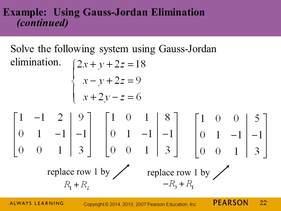 Example: Using Gauss-Jordan Elimination (continued)