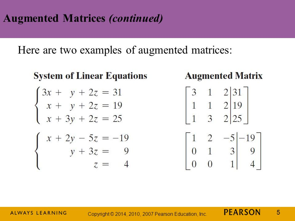 Augmented Matrices (continued)