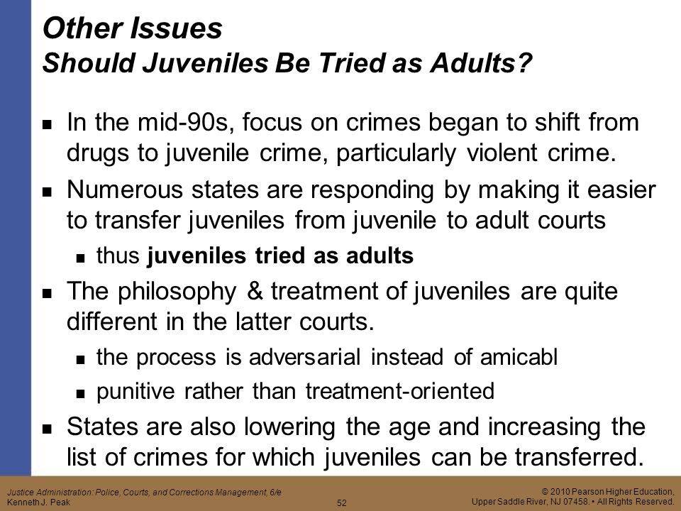 """an essay on trying juveniles as adults Trying juveniles as adults, supra  a summary of six studies found that there was greater overall recidivism for juveniles prosecuted in adult court than juveniles whose crimes """"matched"""" in juvenile court id juveniles in adult court also recidivated sooner and more frequently id."""