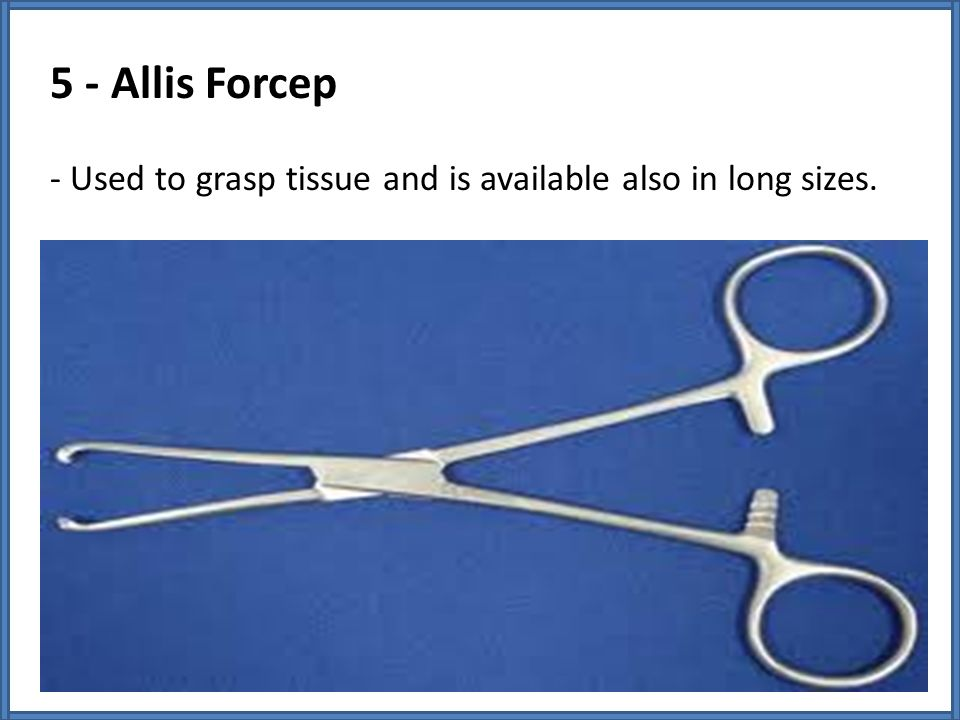 5 - Allis Forcep - Used to grasp tissue and is available also in long sizes.
