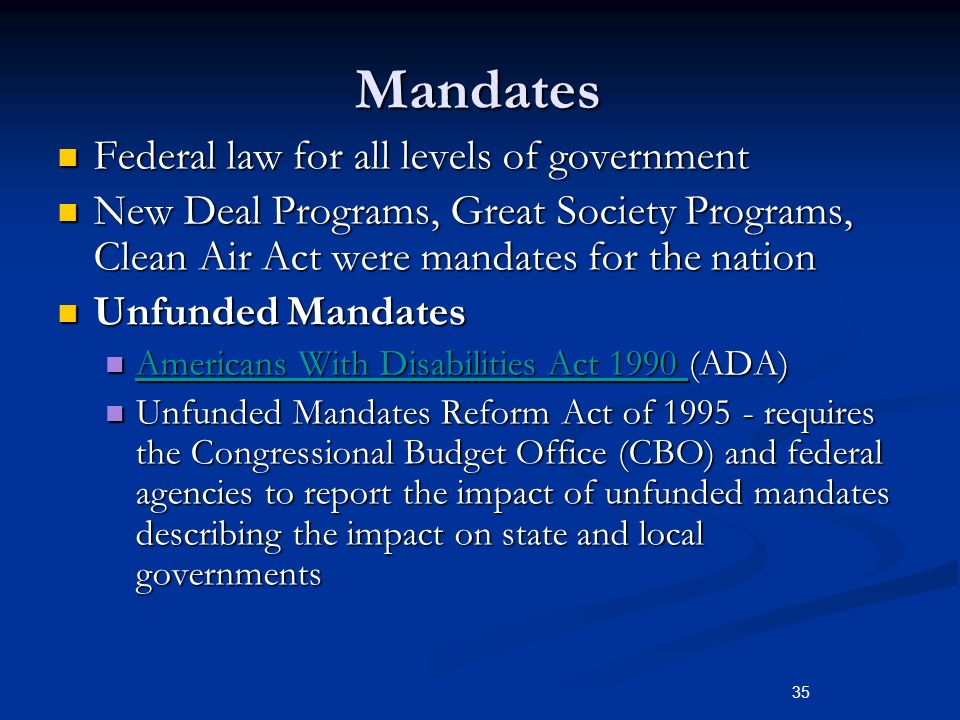 Ap government block grants and federal mandates