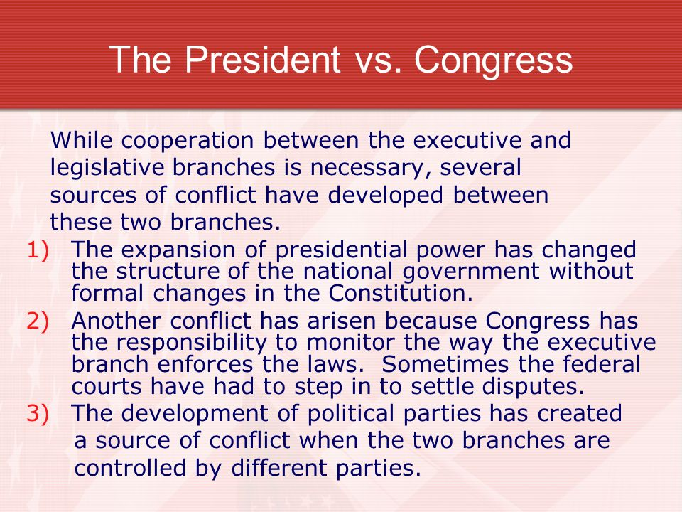 the conflicting views between the president and congress You say andrew johnson had more vetoes overriden than any other president because he the struggle between johnson and congress revolved between the.