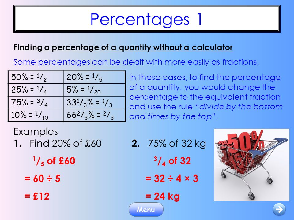 how to find the percentage of something without a calculator