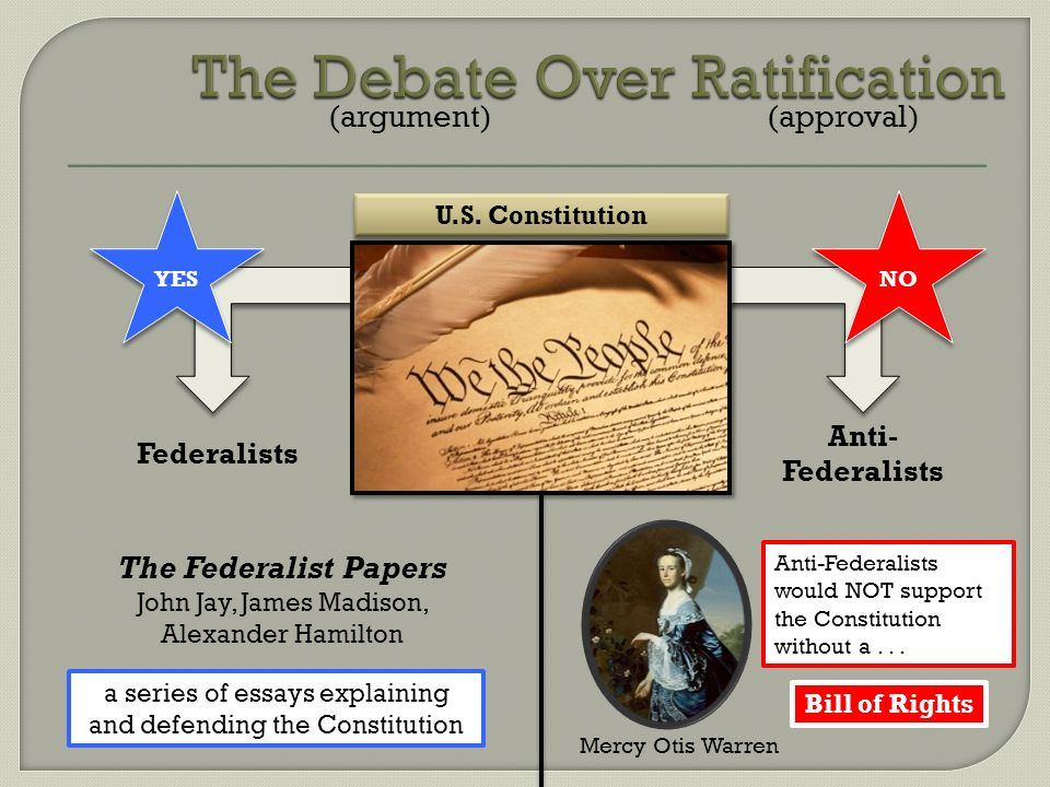 the debates about the ratification of the us constitution The debates over ratification of the constitution represent with the establishment of the united states of america under.