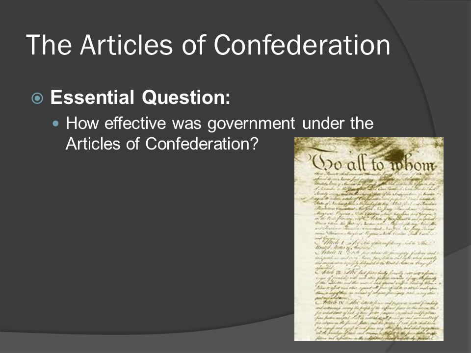 essay on the articles of confederation The articles of confederation was the first constitution of the united states the articles took place from march 1, 1781 to june 21, 1788 at the time of the american revolution, the articles were written by.