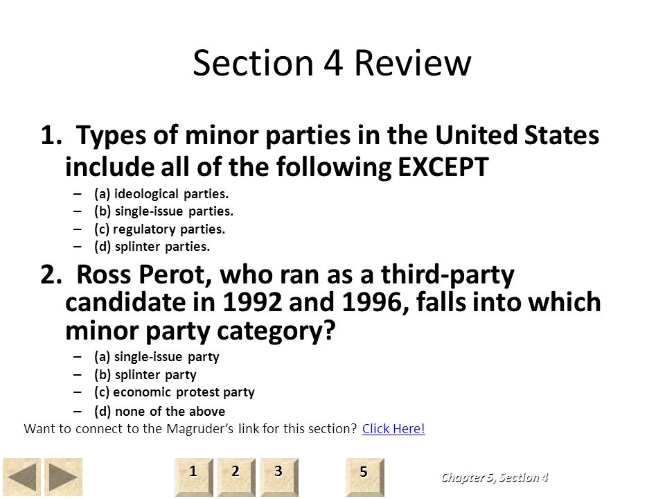 What Are Four Types of Minor Parties in American Politics?