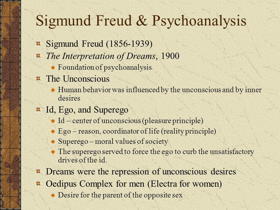 sigmund freud psychoanalysis and the interpretation of dreams The interpretation of dreams is a book by psychoanalyst sigmund freud the book introduces freud's theory of the unconscious with respect to dream interpretation.