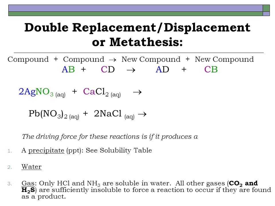 metathesis balanced equation 3 give a brief description of the three types of metathesis (double-replacement) reactions and give at least on example of each from this lab (write the balanced equation for each example.