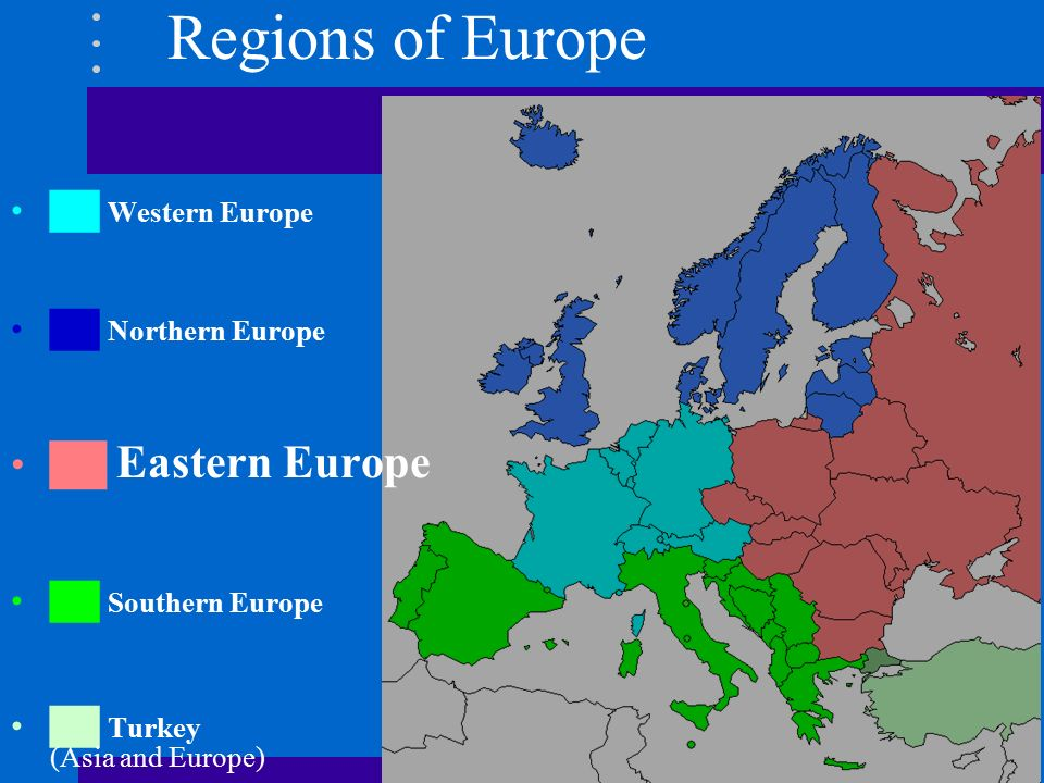 eastern and western europe The hidden europe puts 25 countries in eastern europe it includes western russia, germany's eastern half, and the ex-yugoslav countries it also includes three .