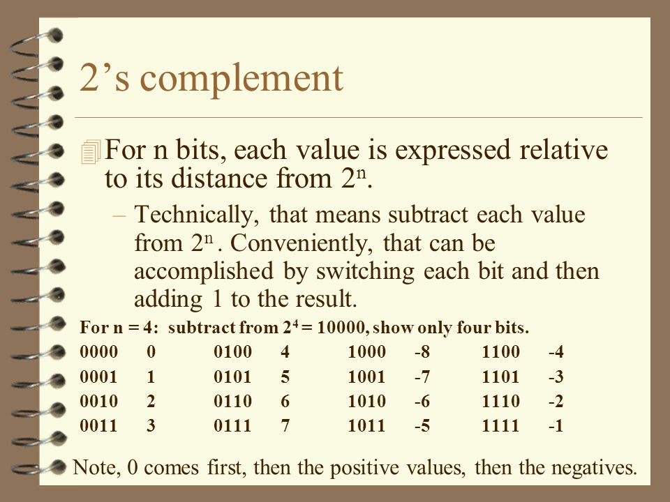 2's complement For n bits, each value is expressed relative to its distance from 2n