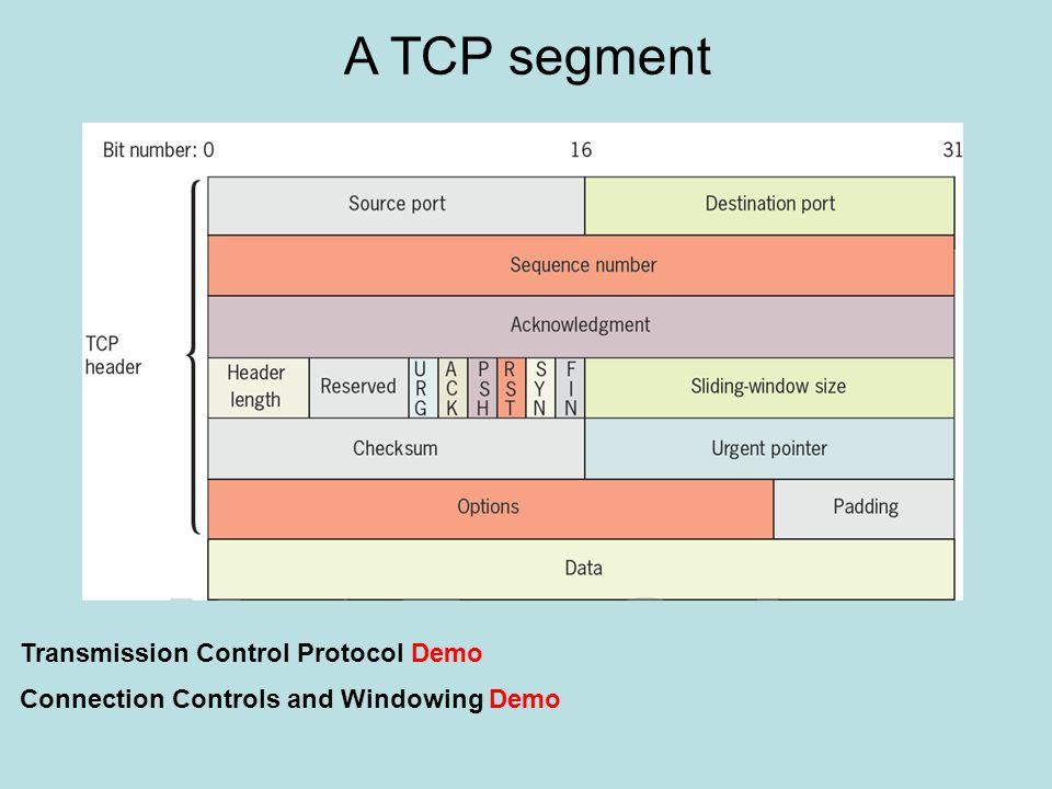A TCP segment Transmission Control Protocol Demo