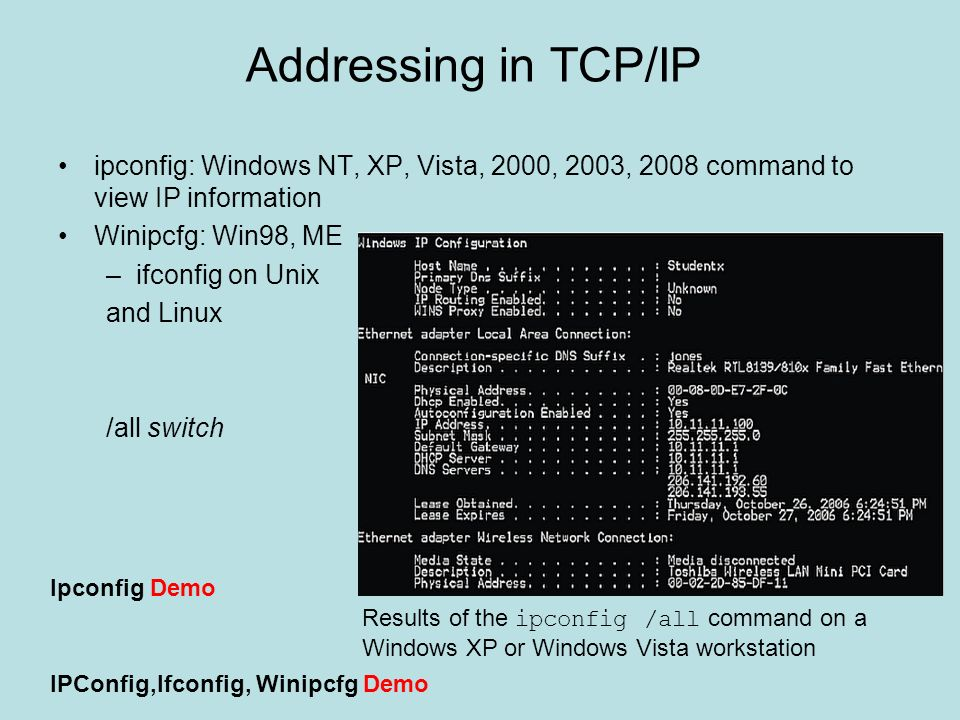 Addressing in TCP/IP ipconfig: Windows NT, XP, Vista, 2000, 2003, 2008 command to view IP information.