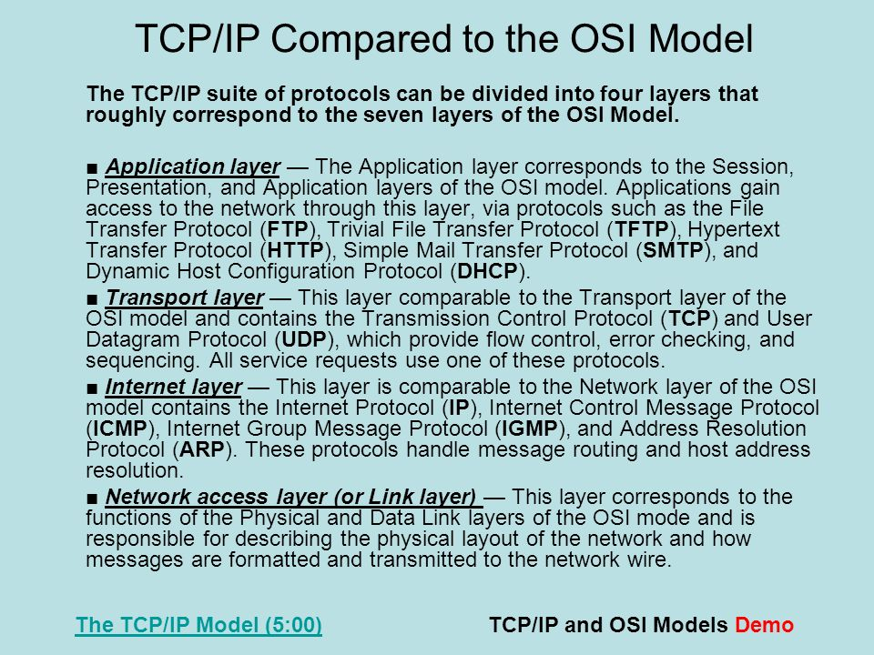TCP/IP Compared to the OSI Model