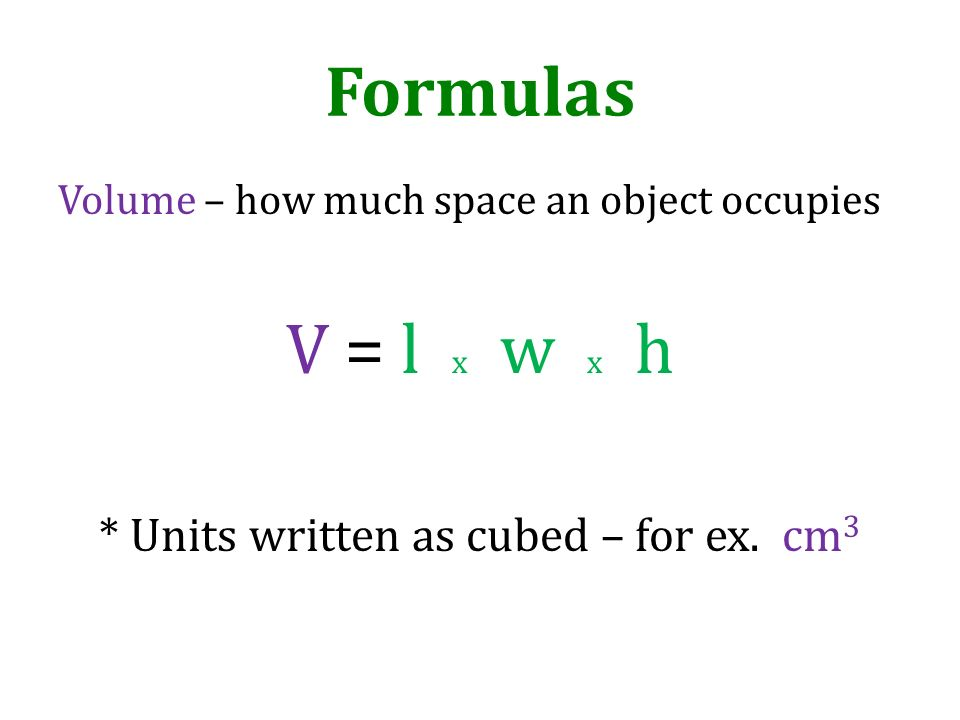 * Units written as cubed – for ex. cm3