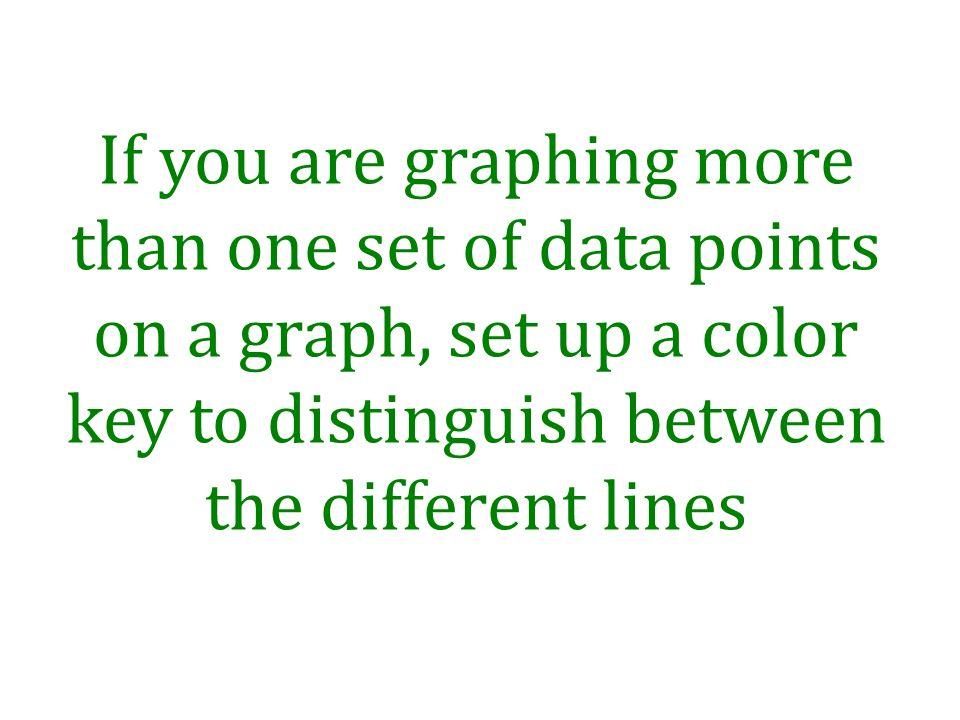 If you are graphing more than one set of data points on a graph, set up a color key to distinguish between the different lines