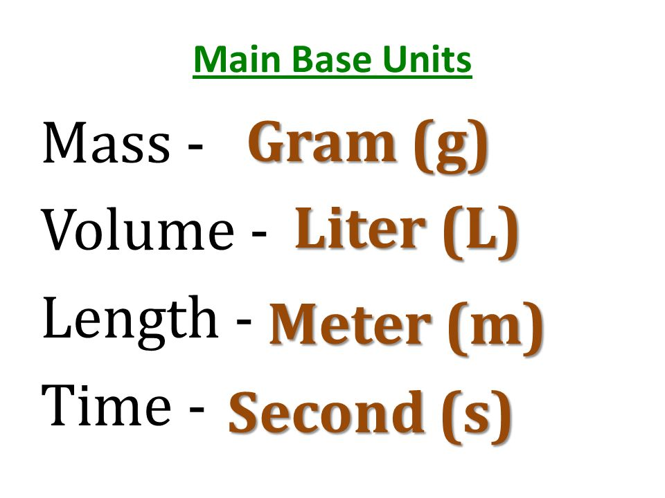 Mass - Volume - Length - Time -