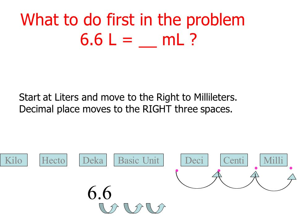 What to do first in the problem 6.6 L = __ mL