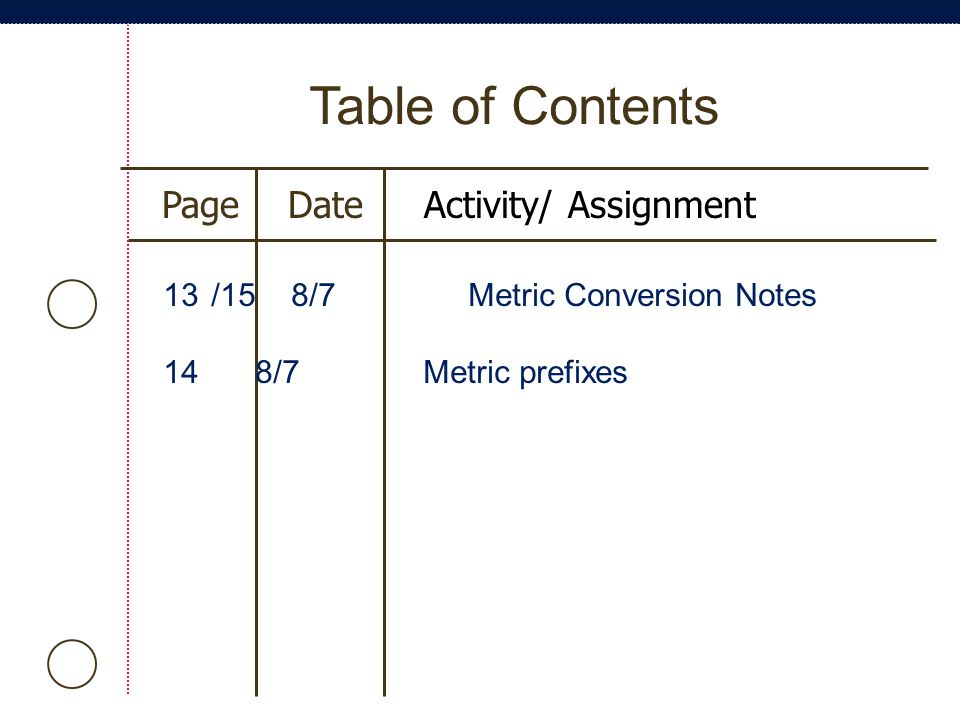 Table of Contents Page Date Activity/ Assignment